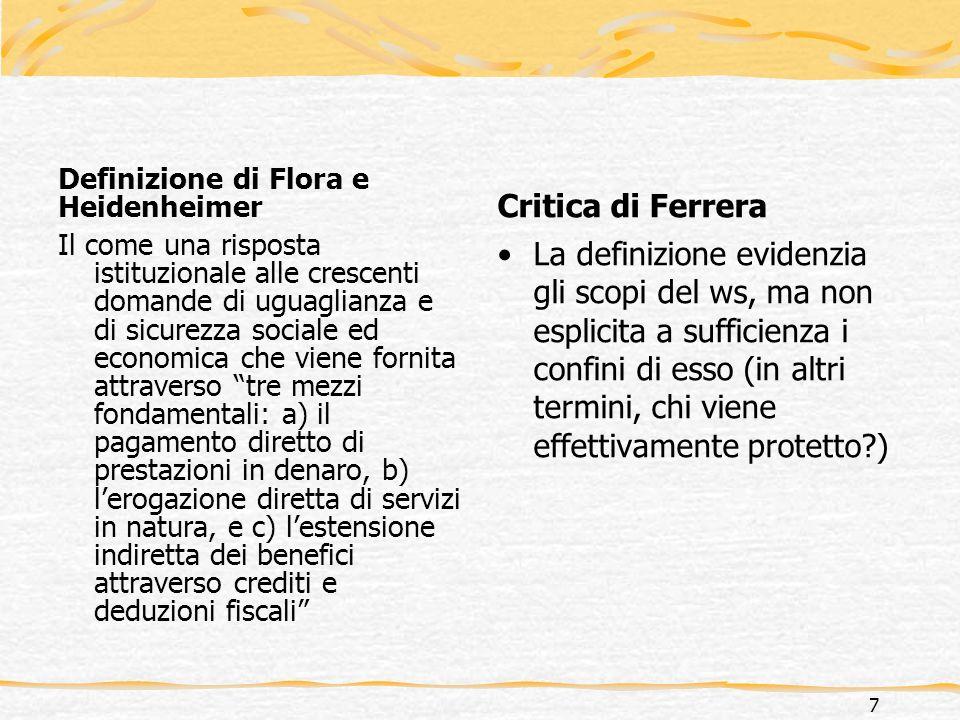Definizione di Ferrera… Il welfare state è un insieme di interventi pubblici connessi al processo di modernizzazione, i quali forniscono protezione sotto forma di assistenza, assicurazione e sicurezza sociale, introducendo fra laltro specifici diritti sociali nel caso di eventi prestabiliti, nonché specifici doveri di contribuzione finanziaria 8