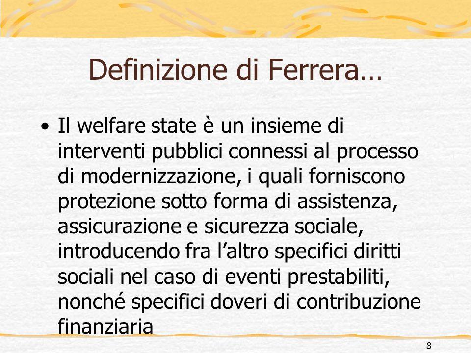 …rivista alla luce del diamante del benessere Il welfare state è un insieme di interventi pubblici connessi al processo di modernizzazione, i quali forniscono protezione sotto forma di assistenza, assicurazione e sicurezza sociale.