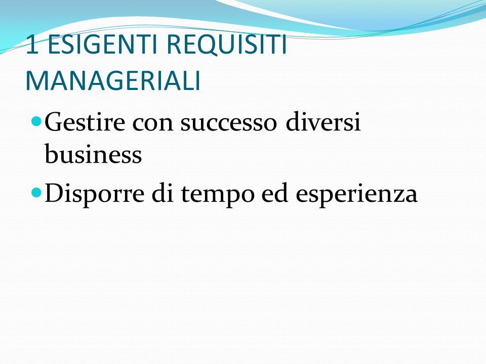 1 ESIGENTI REQUISITI MANAGERIALI Gestire con successo diversi business Disporre di tempo ed esperienza