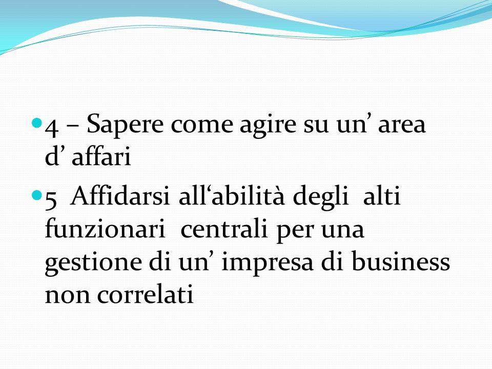 4 – Sapere come agire su un area d affari 5 Affidarsi allabilità degli alti funzionari centrali per una gestione di un impresa di business non correlati