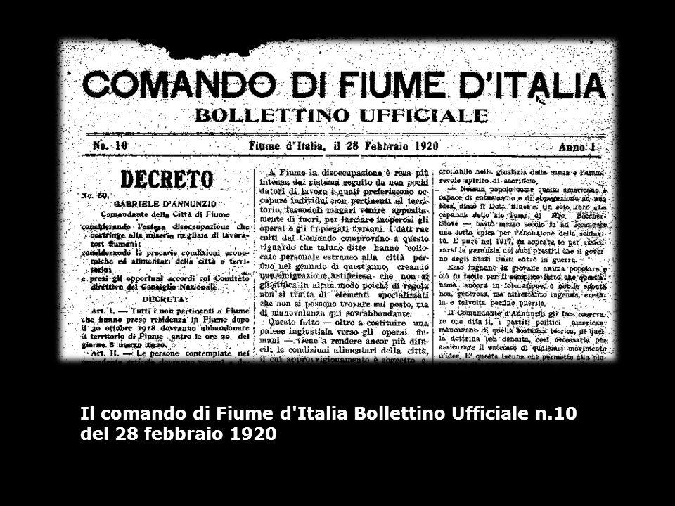 Il comando di Fiume d'Italia Bollettino Ufficiale n.10 del 28 febbraio 1920