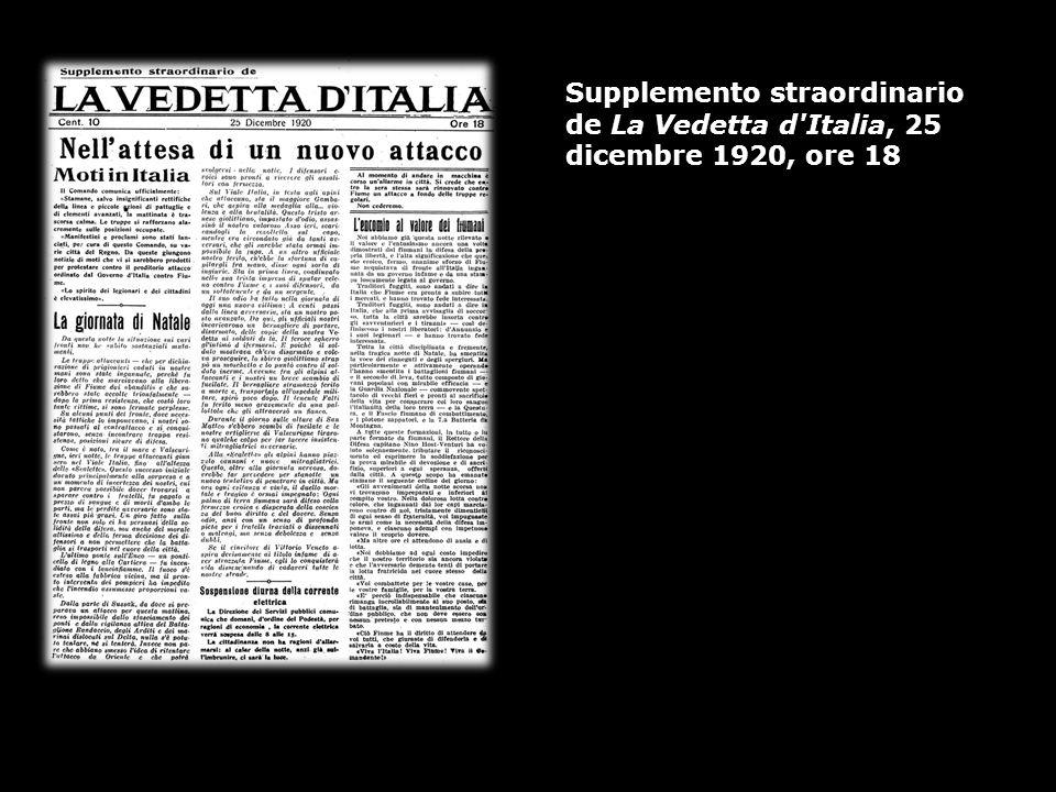 Supplemento straordinario de La Vedetta d'Italia, 25 dicembre 1920, ore 18