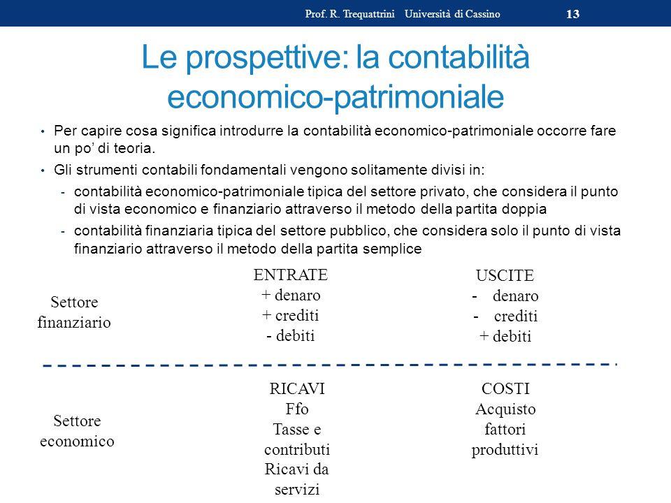 Le prospettive: la contabilità economico-patrimoniale Per capire cosa significa introdurre la contabilità economico-patrimoniale occorre fare un po di