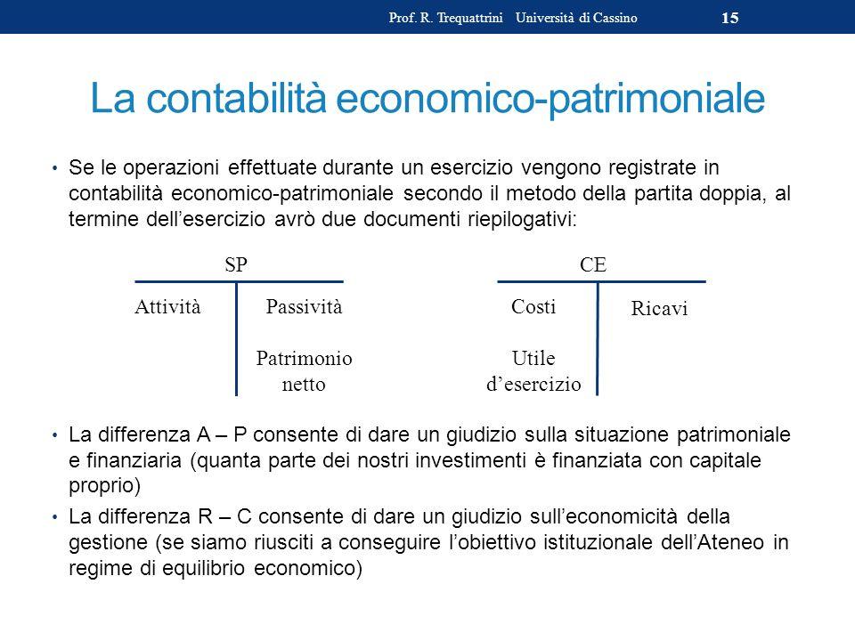 La contabilità economico-patrimoniale Se le operazioni effettuate durante un esercizio vengono registrate in contabilità economico-patrimoniale second