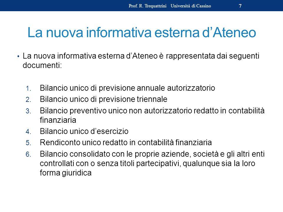 La nuova informativa esterna dAteneo La nuova informativa esterna dAteneo è rappresentata dai seguenti documenti: 1. Bilancio unico di previsione annu