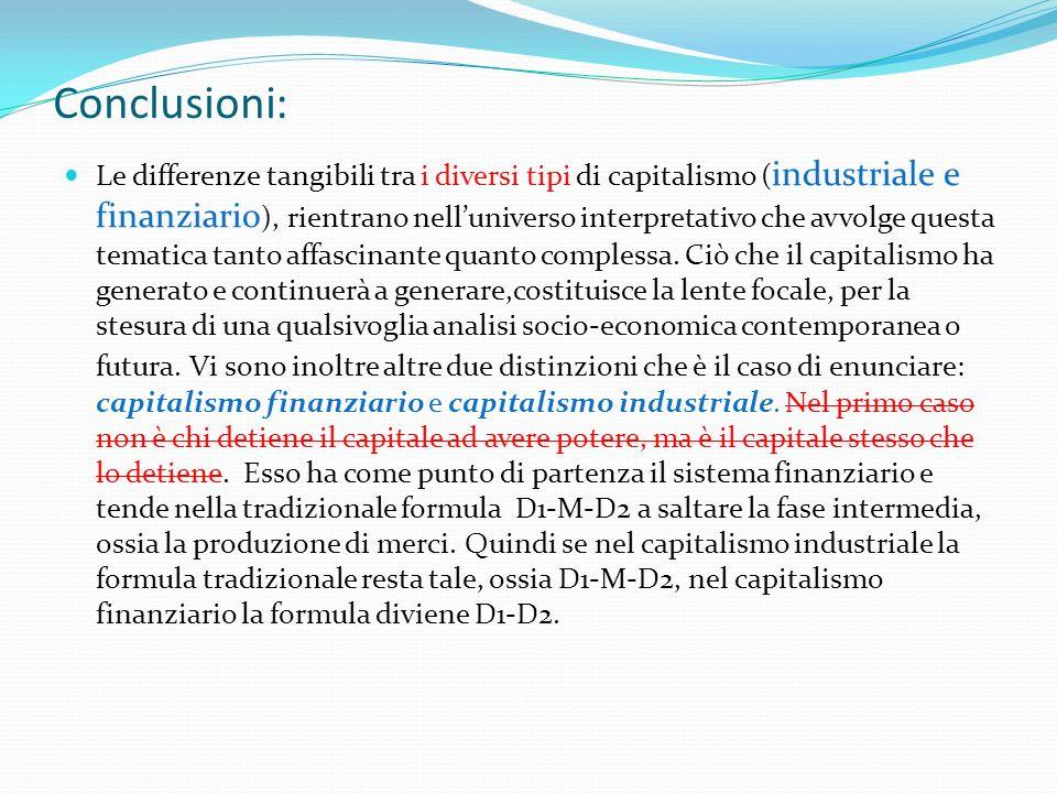 Conclusioni: Le differenze tangibili tra i diversi tipi di capitalismo ( industriale e finanziario ), rientrano nelluniverso interpretativo che avvolg
