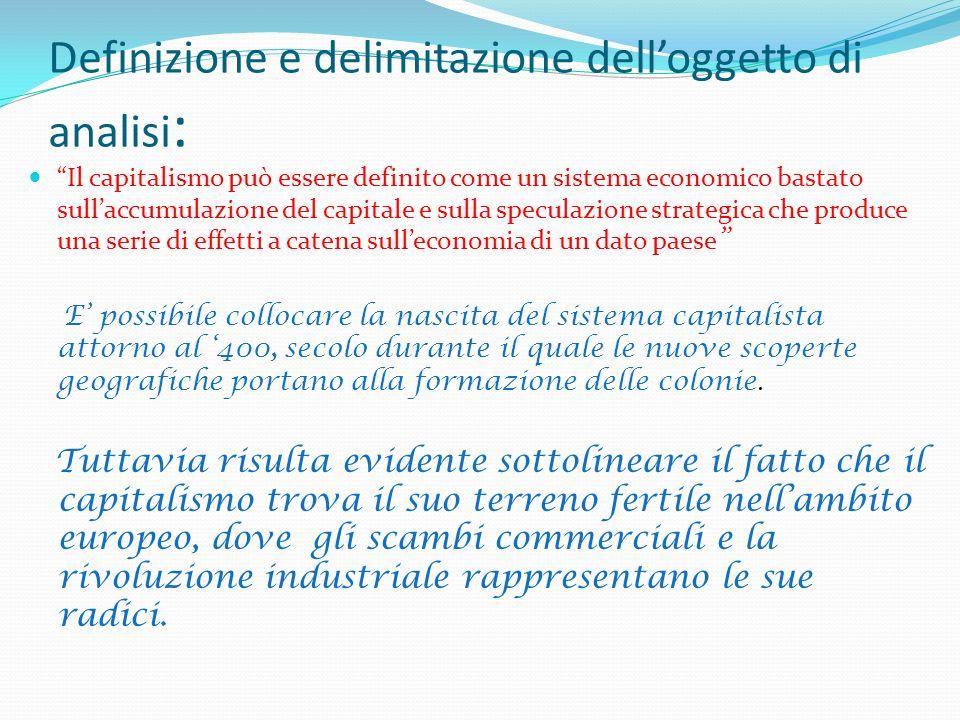 Definizione e delimitazione delloggetto di analisi : Il capitalismo può essere definito come un sistema economico bastato sullaccumulazione del capita