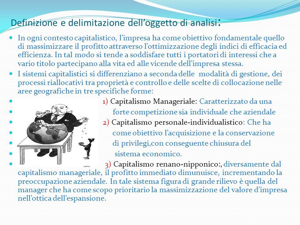 Definizione e delimitazione delloggetto di analisi : In ogni contesto capitalistico, limpresa ha come obiettivo fondamentale quello di massimizzare il