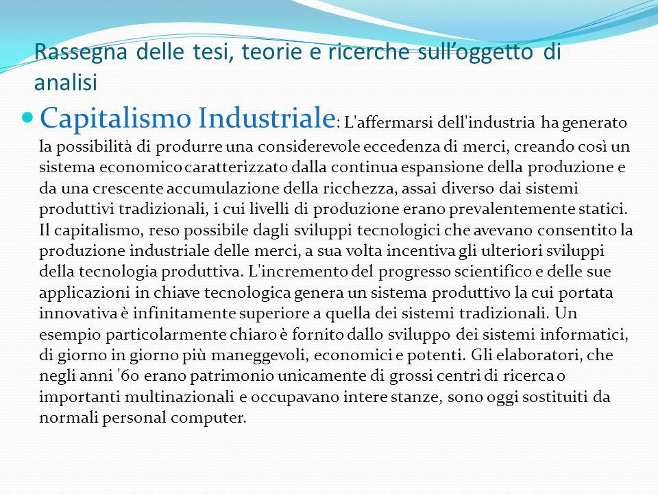 Rassegna delle tesi, teorie e ricerche sulloggetto di analisi Capitalismo Industriale : L'affermarsi dell'industria ha generato la possibilità di prod