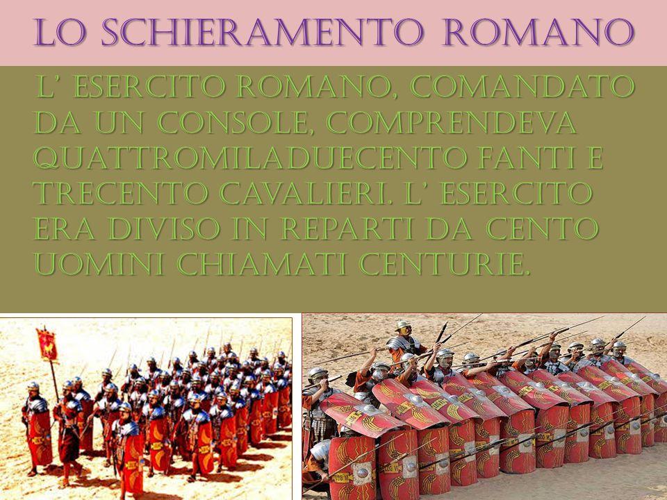 Lo schieramento romano L esercito romano, comandato da un console, comprendeva quattromiladuecento fanti e trecento cavalieri. L esercito era diviso i