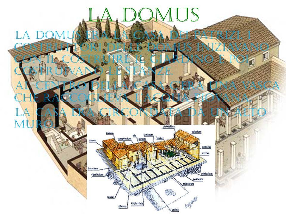 La domus La domus era la casa dei patrizi, i costruttori delle domus iniziavano con il costruire il giardino e poi costruivano le stanze. al centro de