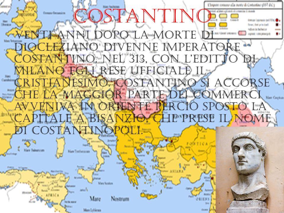 costantino Venti anni dopo la morte di diocleziano divenne imperatore costantino. Nel 313, con leditto di milano egli rese ufficiale il cristianesimo.