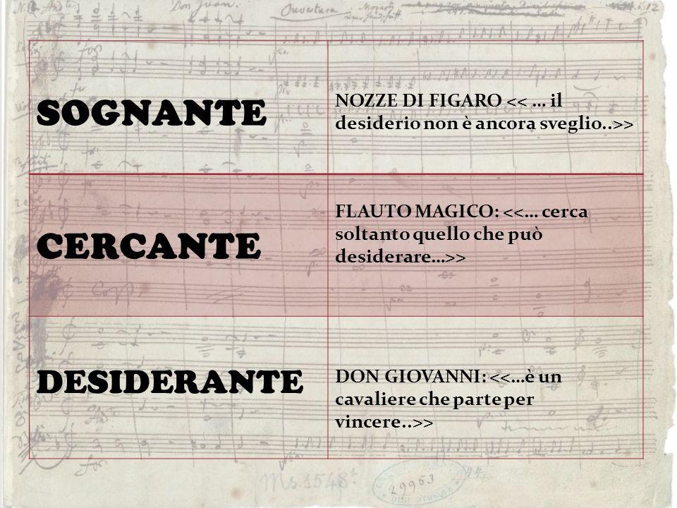 SOGNANTE NOZZE DI FIGARO > CERCANTE FLAUTO MAGICO: > DESIDERANTE DON GIOVANNI: >