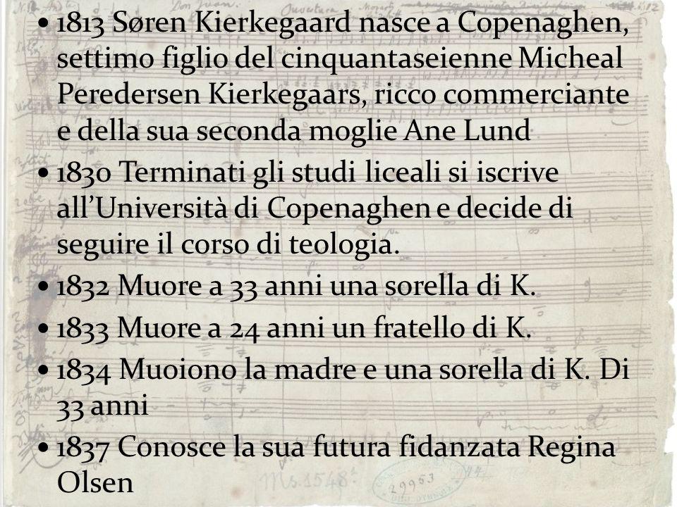 1813 Søren Kierkegaard nasce a Copenaghen, settimo figlio del cinquantaseienne Micheal Peredersen Kierkegaars, ricco commerciante e della sua seconda