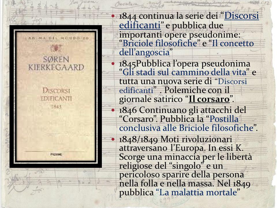 1844 continua la serie deiDiscorsi edificanti e pubblica due importanti opere pseudonime:Briciole filosofiche e Il concetto dellangoscia 1845Pubblica