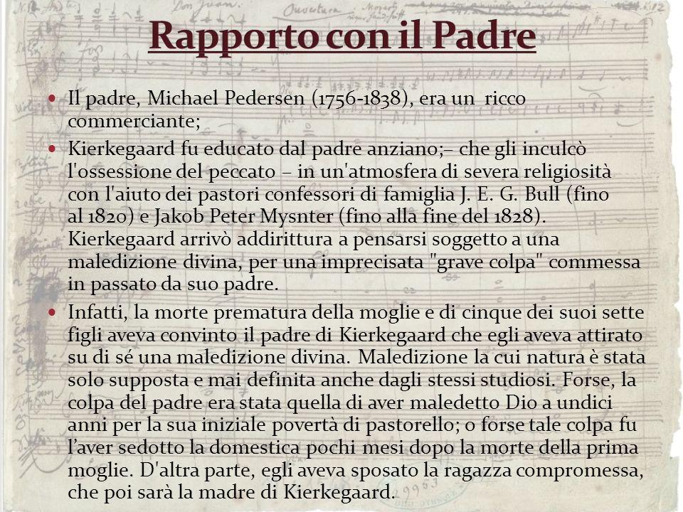 Il padre, Michael Pedersen (1756-1838), era un ricco commerciante; Kierkegaard fu educato dal padre anziano;– che gli inculcò l'ossessione del peccato
