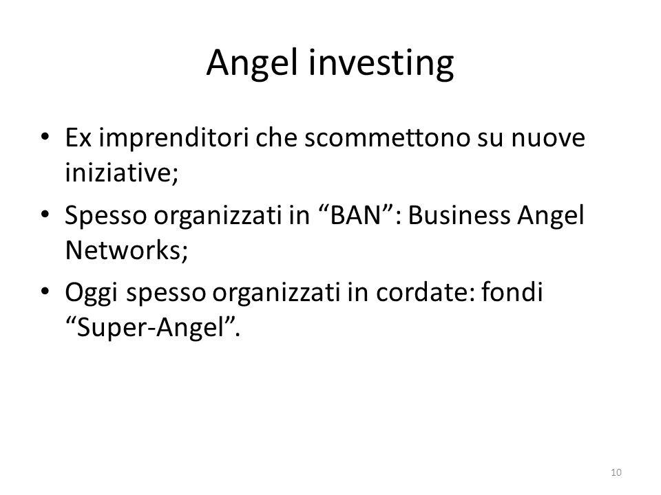 Angel investing Ex imprenditori che scommettono su nuove iniziative; Spesso organizzati in BAN: Business Angel Networks; Oggi spesso organizzati in cordate: fondi Super-Angel.