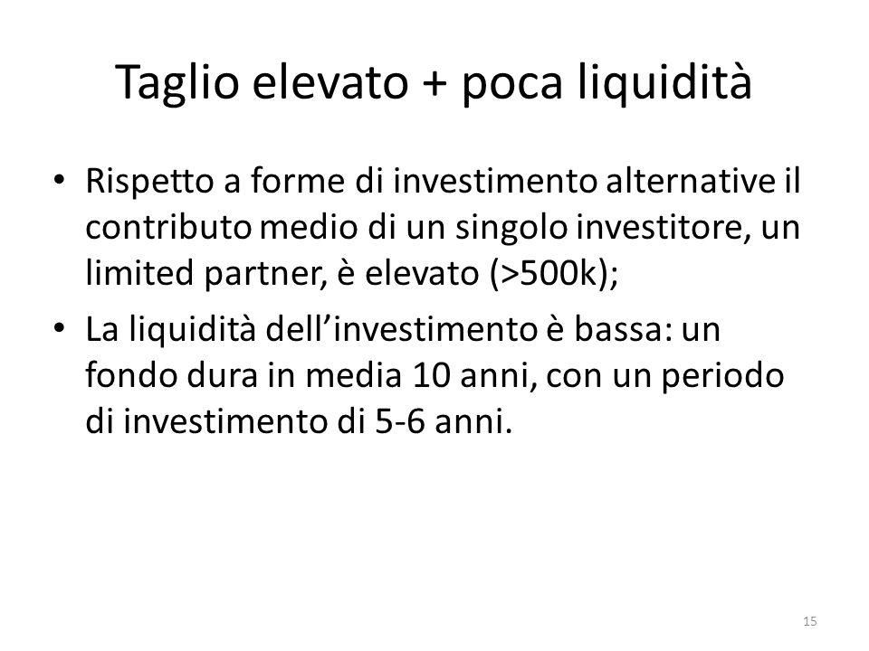 Taglio elevato + poca liquidità Rispetto a forme di investimento alternative il contributo medio di un singolo investitore, un limited partner, è elevato (>500k); La liquidità dellinvestimento è bassa: un fondo dura in media 10 anni, con un periodo di investimento di 5-6 anni.