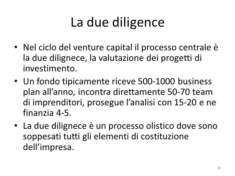 La due diligence Nel ciclo del venture capital il processo centrale è la due dilignece, la valutazione dei progetti di investimento.