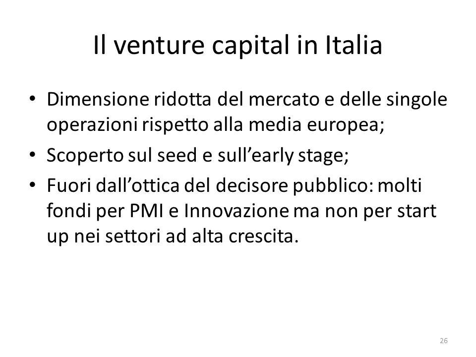 Il venture capital in Italia Dimensione ridotta del mercato e delle singole operazioni rispetto alla media europea; Scoperto sul seed e sullearly stage; Fuori dallottica del decisore pubblico: molti fondi per PMI e Innovazione ma non per start up nei settori ad alta crescita.