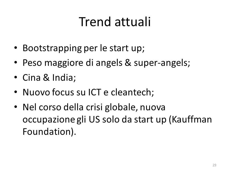 Trend attuali Bootstrapping per le start up; Peso maggiore di angels & super-angels; Cina & India; Nuovo focus su ICT e cleantech; Nel corso della crisi globale, nuova occupazione gli US solo da start up (Kauffman Foundation).