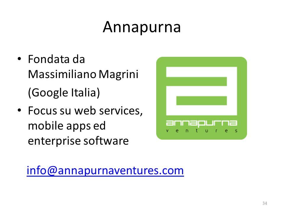 Annapurna Fondata da Massimiliano Magrini (Google Italia) Focus su web services, mobile apps ed enterprise software 34 info@annapurnaventures.com