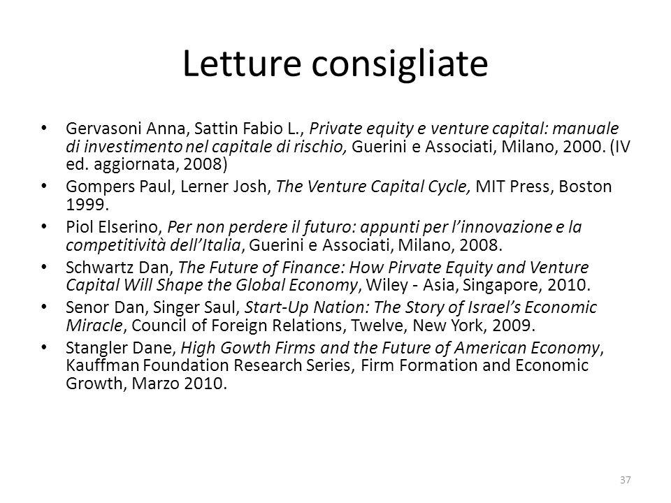 Letture consigliate Gervasoni Anna, Sattin Fabio L., Private equity e venture capital: manuale di investimento nel capitale di rischio, Guerini e Associati, Milano, 2000.