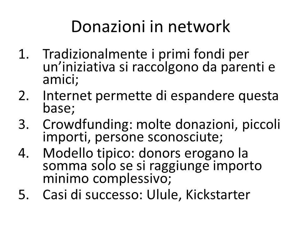 Donazioni in network 1.Tradizionalmente i primi fondi per uniniziativa si raccolgono da parenti e amici; 2.Internet permette di espandere questa base; 3.Crowdfunding: molte donazioni, piccoli importi, persone sconosciute; 4.Modello tipico: donors erogano la somma solo se si raggiunge importo minimo complessivo; 5.Casi di successo: Ulule, Kickstarter