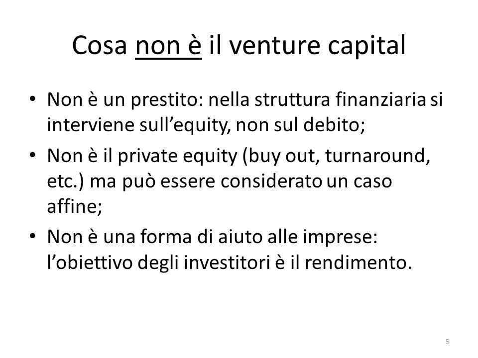 Cosa non è il venture capital Non è un prestito: nella struttura finanziaria si interviene sullequity, non sul debito; Non è il private equity (buy out, turnaround, etc.) ma può essere considerato un caso affine; Non è una forma di aiuto alle imprese: lobiettivo degli investitori è il rendimento.