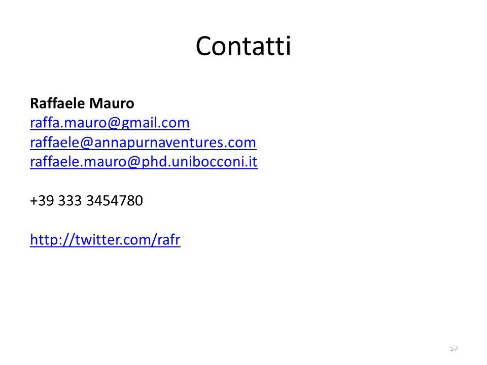 Contatti Raffaele Mauro raffa.mauro@gmail.com raffaele@annapurnaventures.com raffaele.mauro@phd.unibocconi.it +39 333 3454780 http://twitter.com/rafr 57