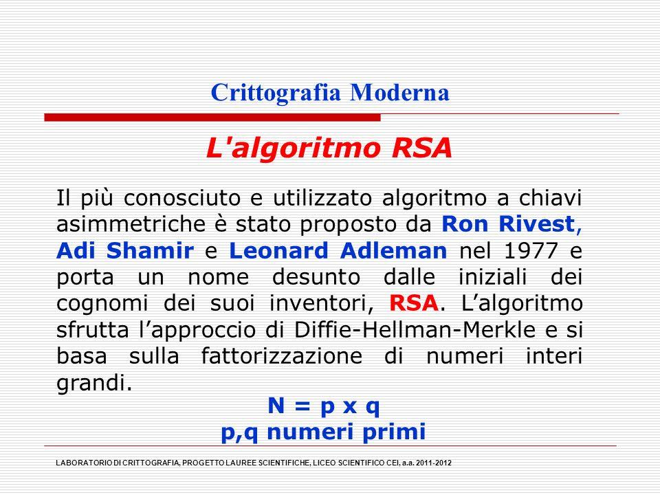 Crittografia Moderna L'algoritmo RSA LABORATORIO DI CRITTOGRAFIA, PROGETTO LAUREE SCIENTIFICHE, LICEO SCIENTIFICO CEI, a.a. 2011-2012 Il più conosciut