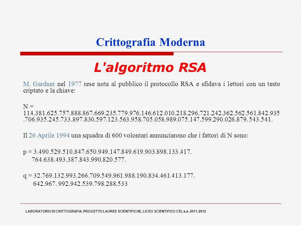 Crittografia Moderna M. Gardner nel 1977 rese nota al pubblico il protocollo RSA e sfidava i lettori con un testo criptato e la chiave: N = 114.381.62