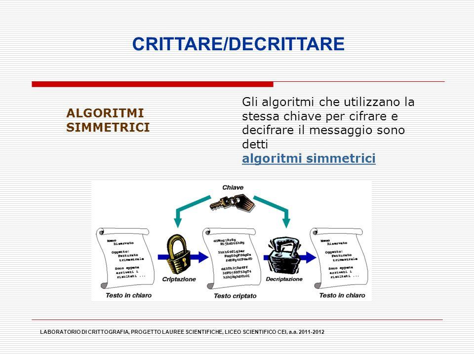 LABORATORIO DI CRITTOGRAFIA, PROGETTO LAUREE SCIENTIFICHE, LICEO SCIENTIFICO CEI, a.a. 2011-2012 CRITTARE/DECRITTARE ALGORITMI SIMMETRICI Gli algoritm