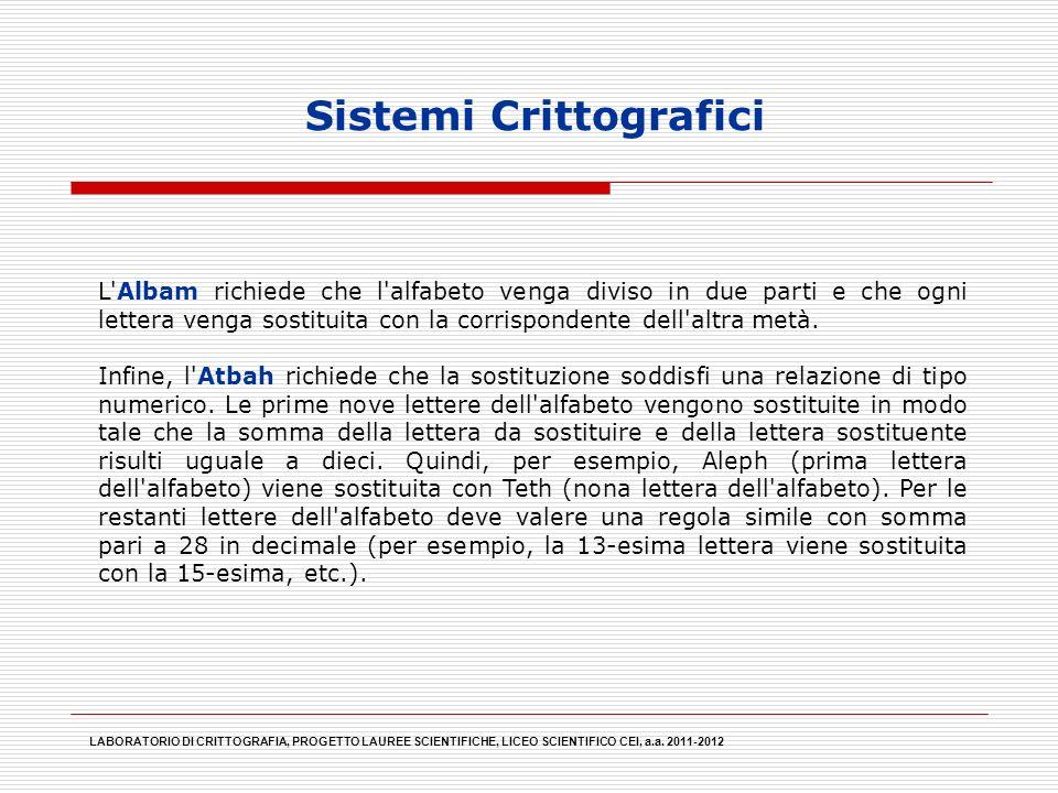 Sistemi Crittografici LABORATORIO DI CRITTOGRAFIA, PROGETTO LAUREE SCIENTIFICHE, LICEO SCIENTIFICO CEI, a.a. 2011-2012 L'Albam richiede che l'alfabeto