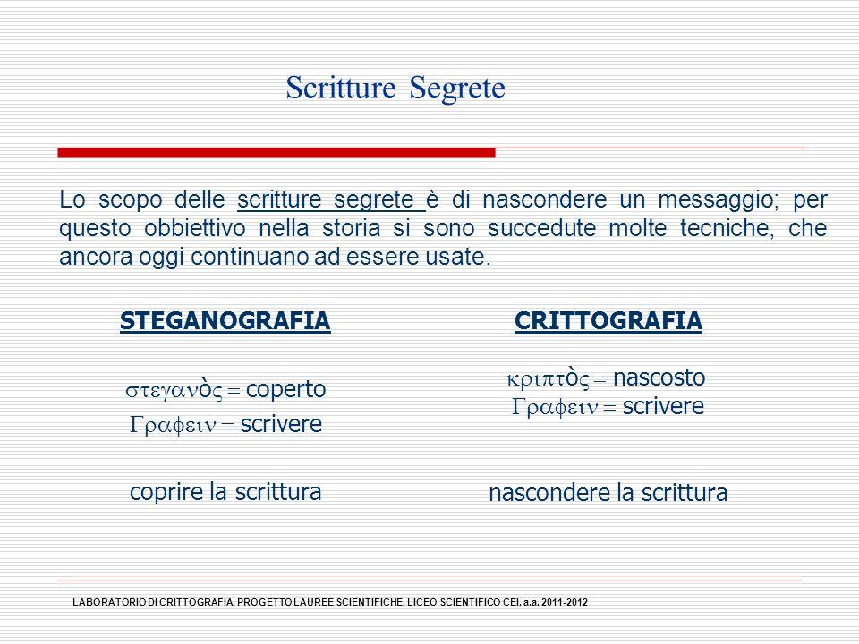 LABORATORIO DI CRITTOGRAFIA, PROGETTO LAUREE SCIENTIFICHE, LICEO SCIENTIFICO CEI, a.a. 2011-2012 Scritture Segrete Lo scopo delle scritture segrete è