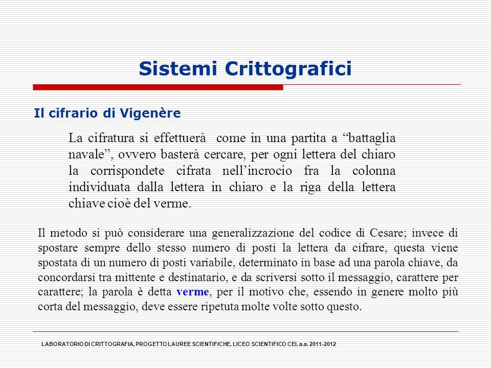 Sistemi Crittografici Il metodo si può considerare una generalizzazione del codice di Cesare; invece di spostare sempre dello stesso numero di posti l