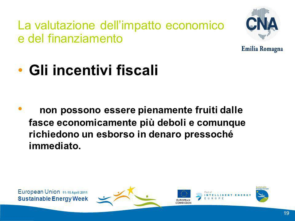 EUROPEAN COMMISSION European Union Sustainable Energy Week 11-15 April 2011 19 La valutazione dellimpatto economico e del finanziamento Gli incentivi