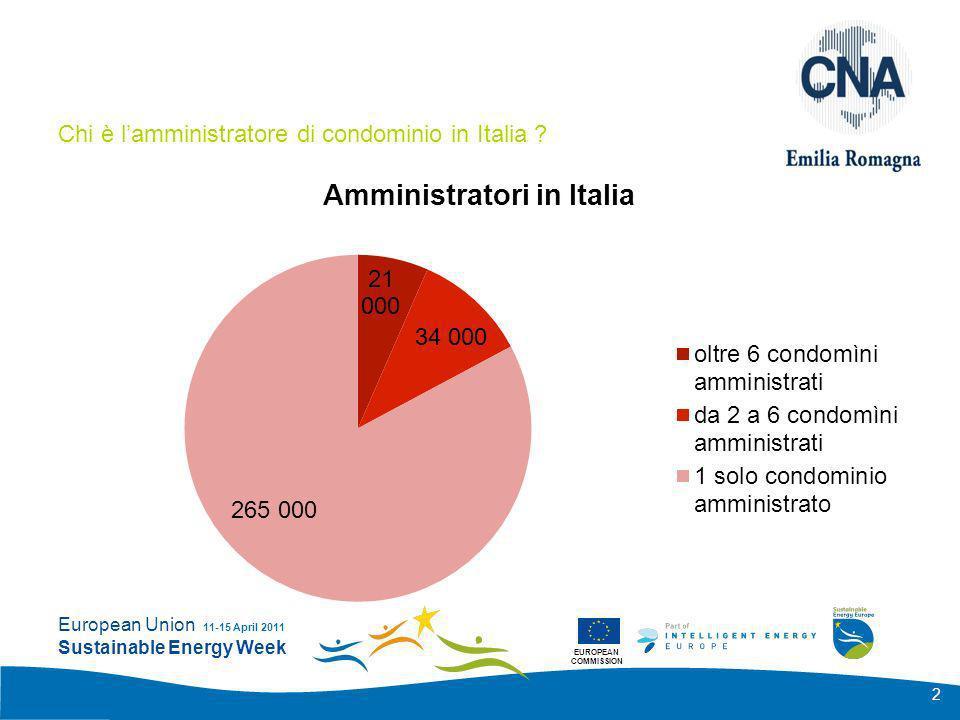 EUROPEAN COMMISSION European Union Sustainable Energy Week 11-15 April 2011 23 La valutazione dellimpatto economico e del finanziamento Il Servizio Energia secondo il DPR.412/93 e il D.Lgs.