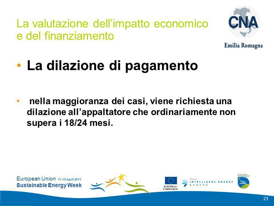 EUROPEAN COMMISSION European Union Sustainable Energy Week 11-15 April 2011 21 La valutazione dellimpatto economico e del finanziamento La dilazione d
