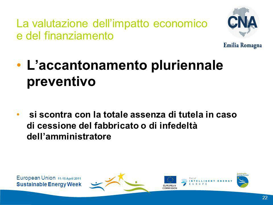 EUROPEAN COMMISSION European Union Sustainable Energy Week 11-15 April 2011 22 La valutazione dellimpatto economico e del finanziamento Laccantonament