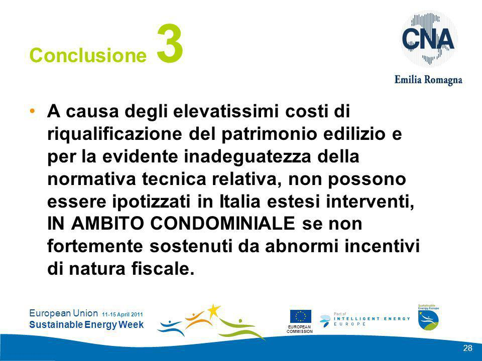 EUROPEAN COMMISSION European Union Sustainable Energy Week 11-15 April 2011 28 Conclusione 3 A causa degli elevatissimi costi di riqualificazione del
