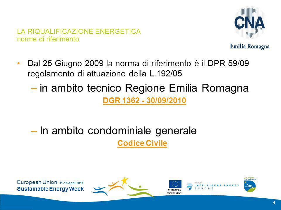 EUROPEAN COMMISSION European Union Sustainable Energy Week 11-15 April 2011 4 LA RIQUALIFICAZIONE ENERGETICA norme di riferimento Dal 25 Giugno 2009 l