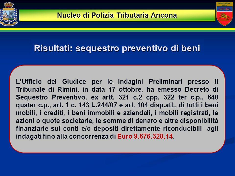 Risultati: sequestro preventivo di beni Nucleo di Polizia Tributaria Ancona LUfficio del Giudice per le Indagini Preliminari presso il Tribunale di Ri