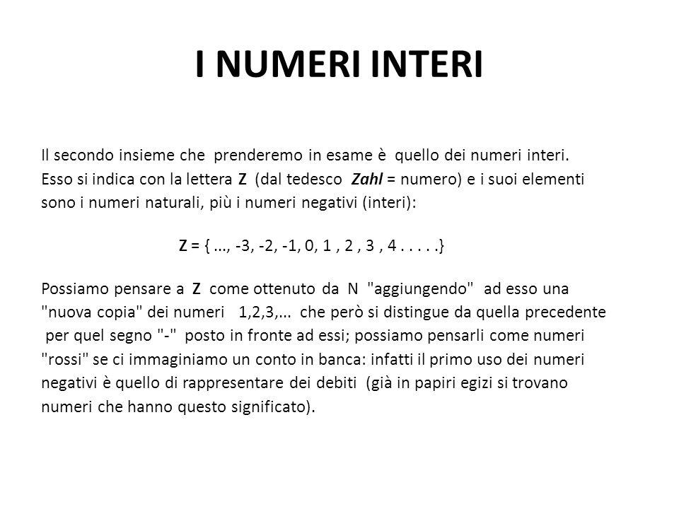 I NUMERI INTERI Il secondo insieme che prenderemo in esame è quello dei numeri interi. Esso si indica con la lettera Z (dal tedesco Zahl = numero) e i