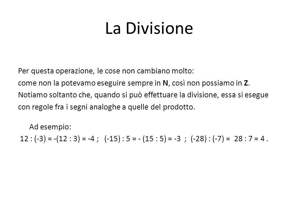 La Divisione Per questa operazione, le cose non cambiano molto: come non la potevamo eseguire sempre in N, così non possiamo in Z. Notiamo soltanto ch