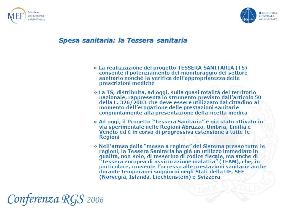 Spesa sanitaria: la Tessera sanitaria » La realizzazione del progetto TESSERA SANITARIA (TS) consente il potenziamento del monitoraggio del settore sa