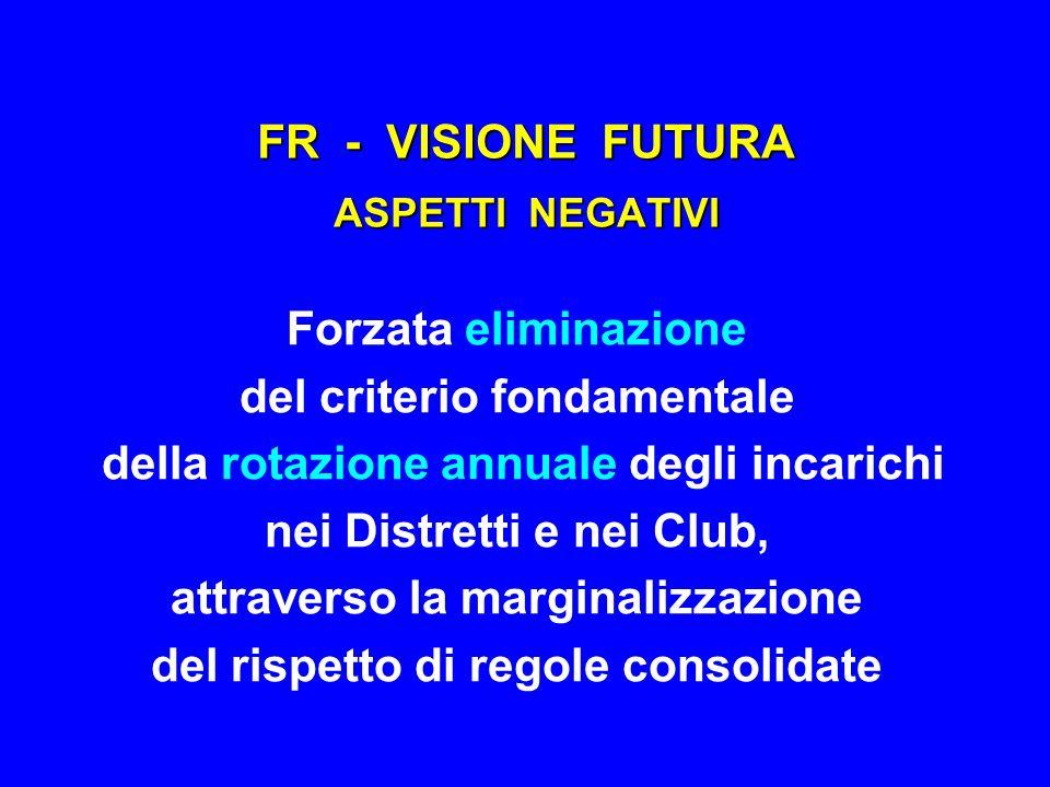 FR - VISIONE FUTURA ASPETTI NEGATIVI Forzata eliminazione del criterio fondamentale della rotazione annuale degli incarichi nei Distretti e nei Club,