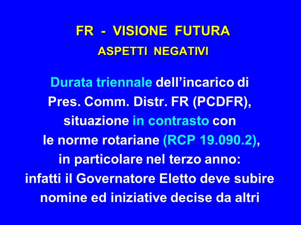 FR - VISIONE FUTURA ASPETTI NEGATIVI Durata triennale dellincarico di Pres. Comm. Distr. FR (PCDFR), situazione in contrasto con le norme rotariane (R