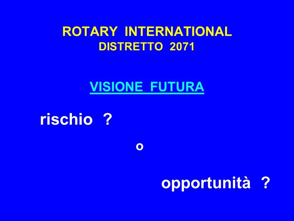ROTARY INTERNATIONAL DISTRETTO 2071 VISIONE FUTURA rischio ? o opportunità ?