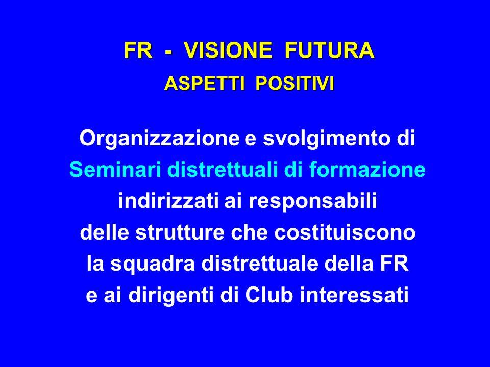 FR - VISIONE FUTURA ASPETTI POSITIVI Organizzazione e svolgimento di Seminari distrettuali di formazione indirizzati ai responsabili delle strutture c